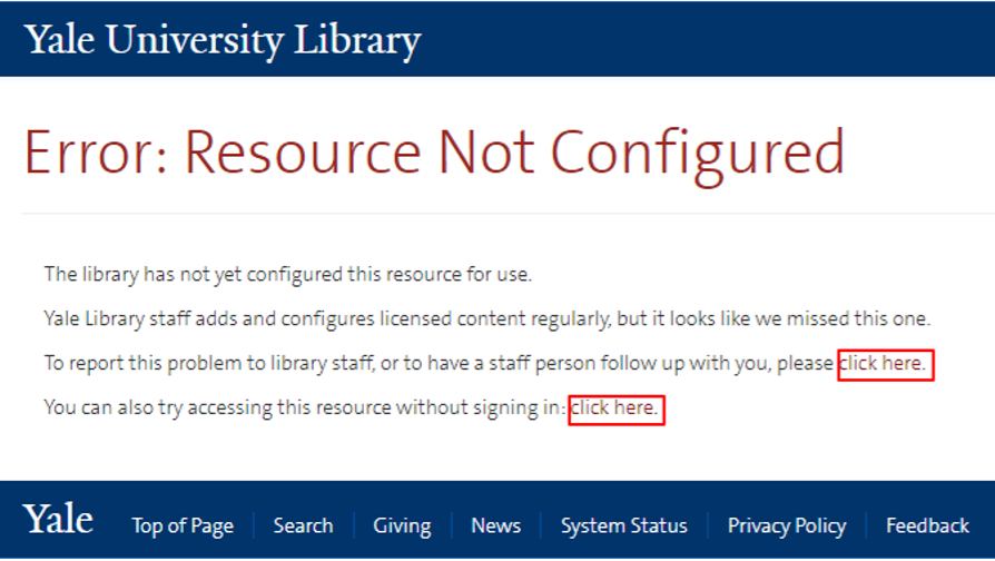 "Screenshot of the error page that reads, ""Error: Resource Not Configured"""