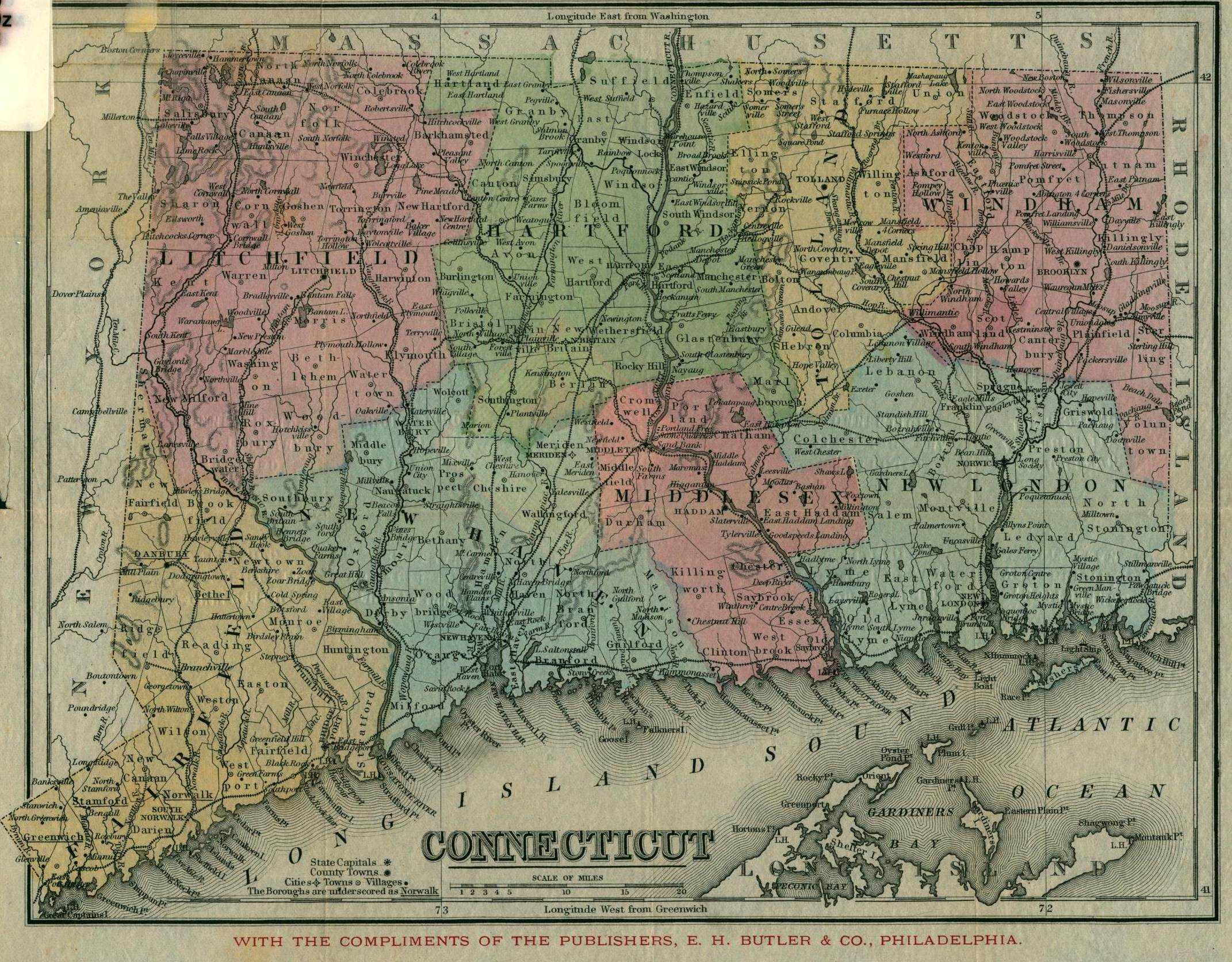 Map of CT circa 1866