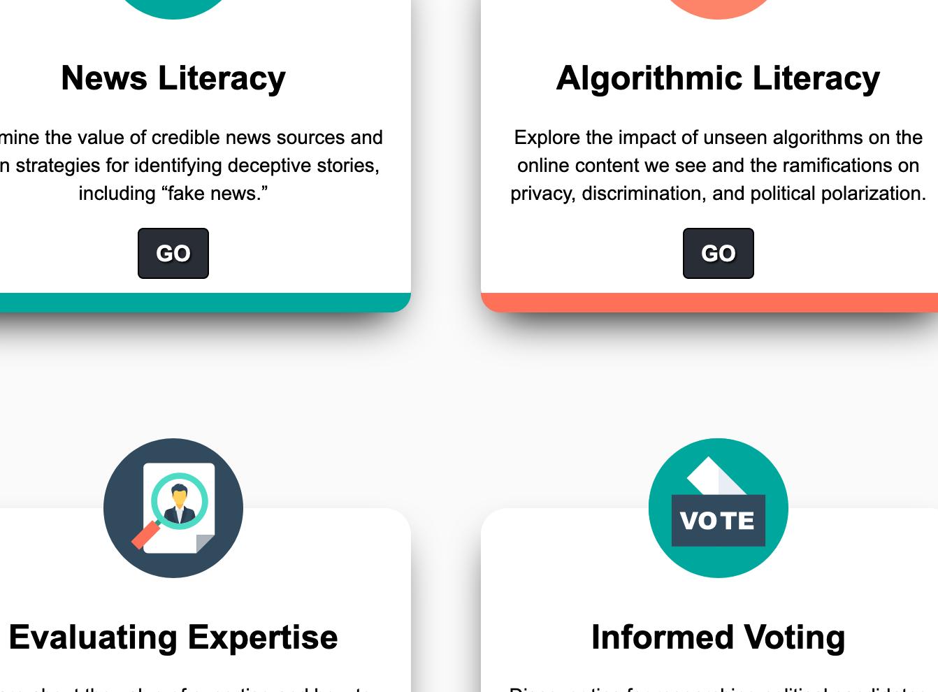 screenshot of Citizen Literacy Project
