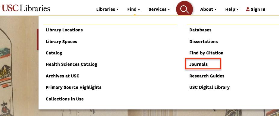 Journals option under Find menu