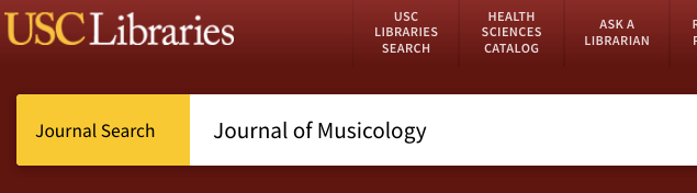title search for Journal of Musicology