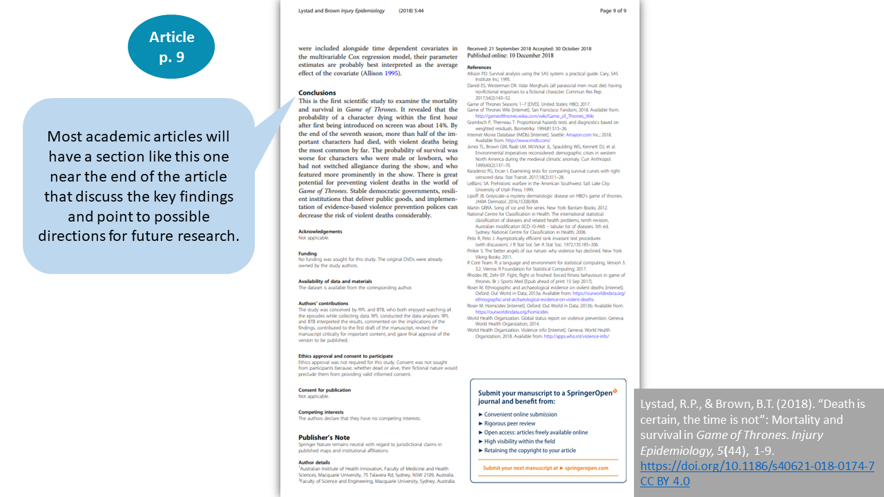 (Screenshot showing page 9 of the article with the Conclusions section). Most academic articles will have a section like this one near the end of the article that discuss the key findings and point to possible directions for future research.