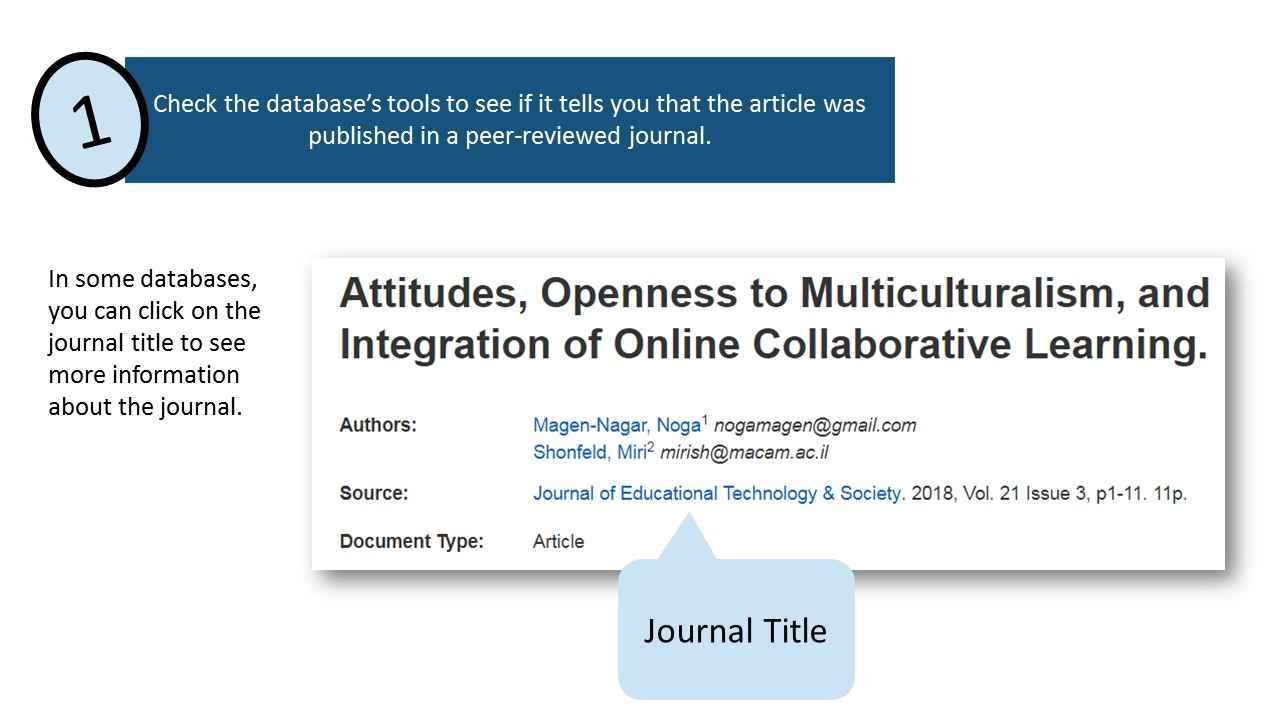 Check the database's tools to see if it tells you that the article was published in a peer-reviewed journal. In some databases, you can click on the journal title to see more information about the journal.
