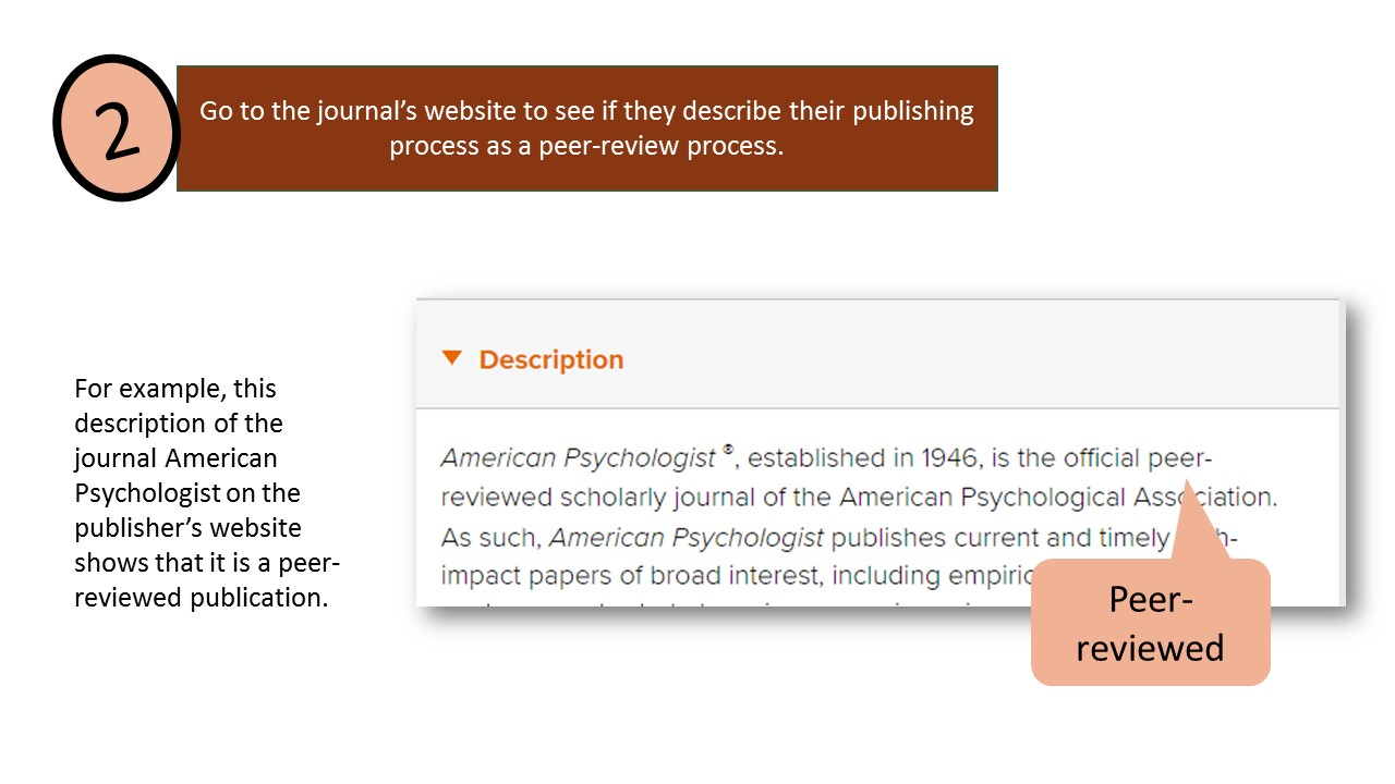 Step 2: Go to the journal's website to see if they describe their publishing process as a peer-review process. Image shows a screenshot of part of the American Psychological Association website. For example, this description of the journal American Psychologist on the publisher's website shows that it is a peer-reviewed publication.