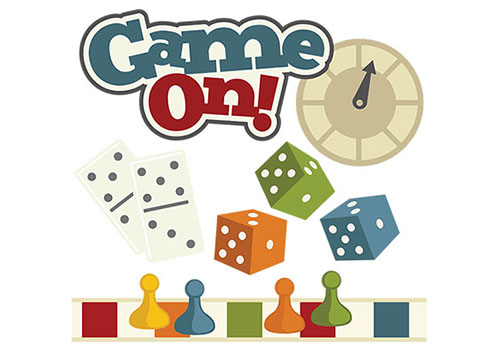 Game On with game pieces like dice and spinner