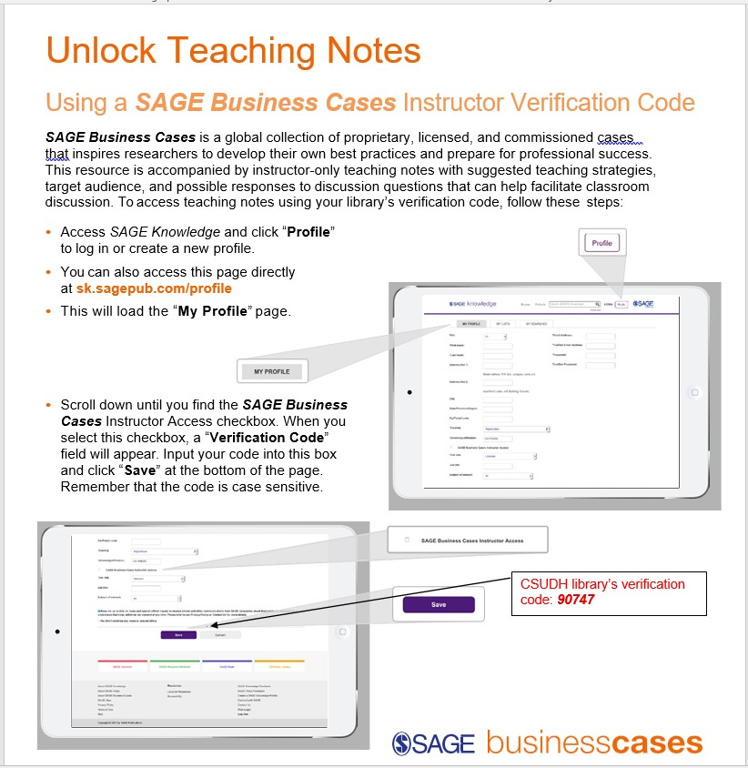 How to access teaching Note in Sage Business Case.
