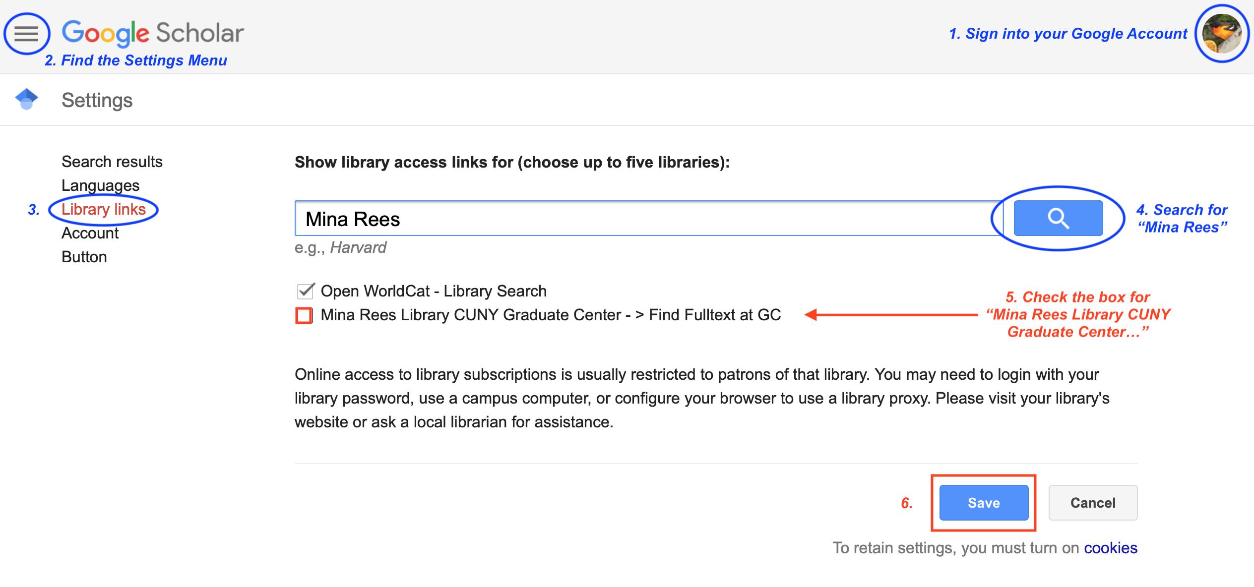 Google Scholar customization