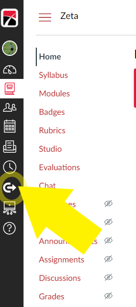 Canvas dashboard. Arrow pointing to Commons