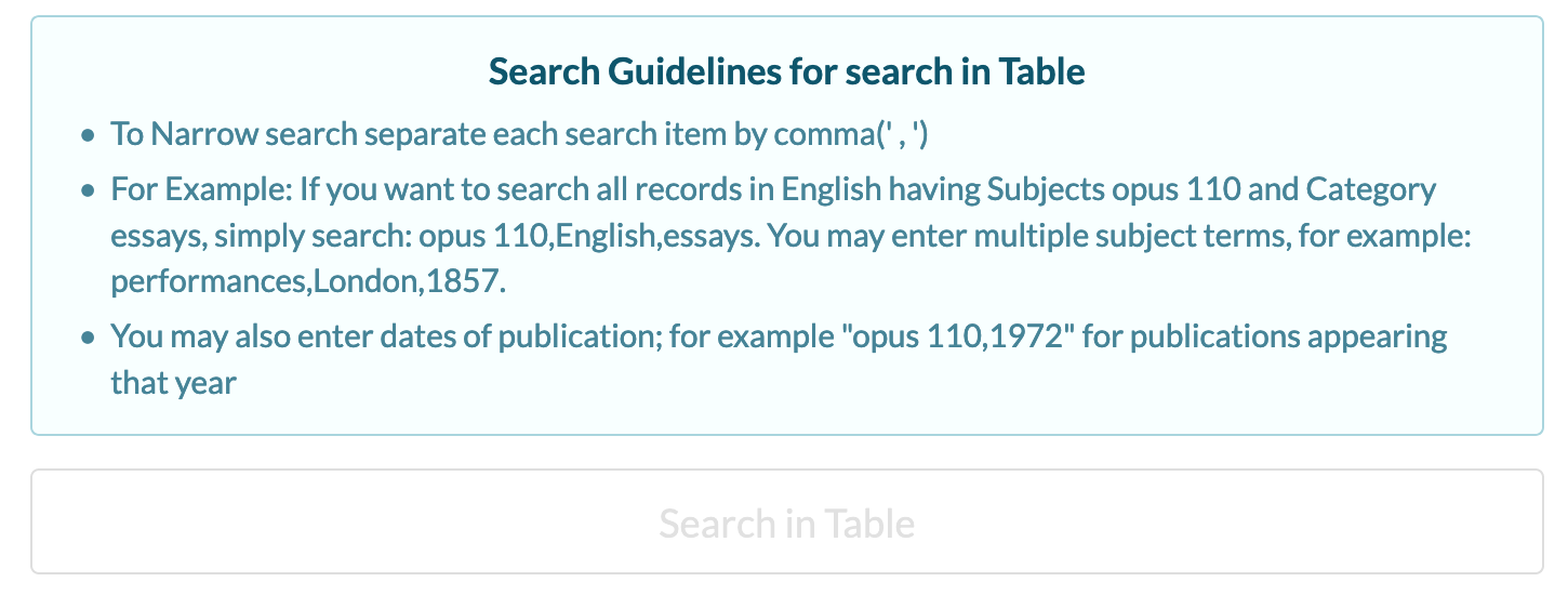 Narrow searches using the Search in Table box