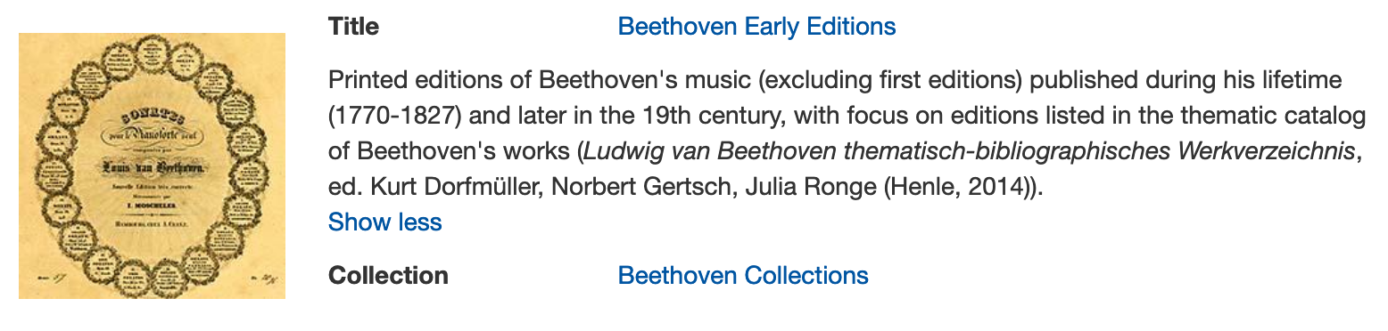 Digital early editions of Beethoven's works