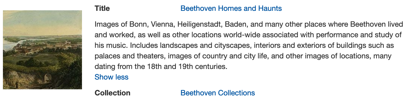 Beethoven's homes and haunts in digital collections