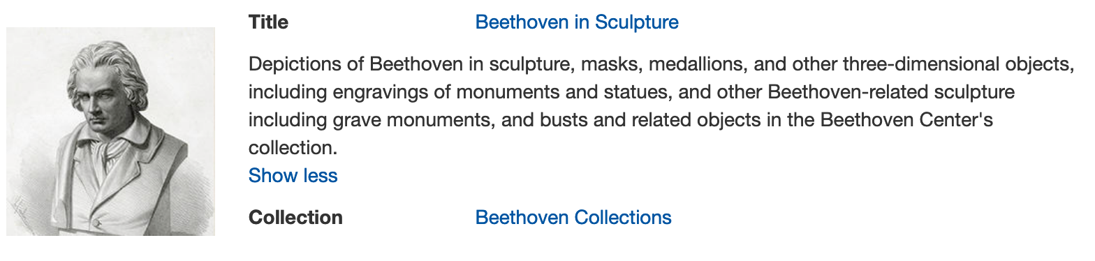 Beethoven scupture in digital collections