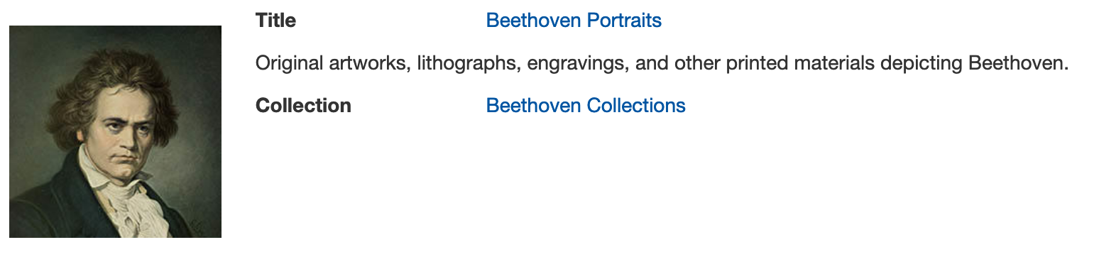 Beethoven portraits in digital collection