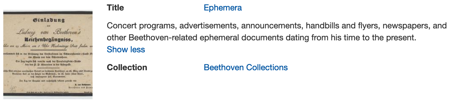 Digital ephemera collection at Beethoven center