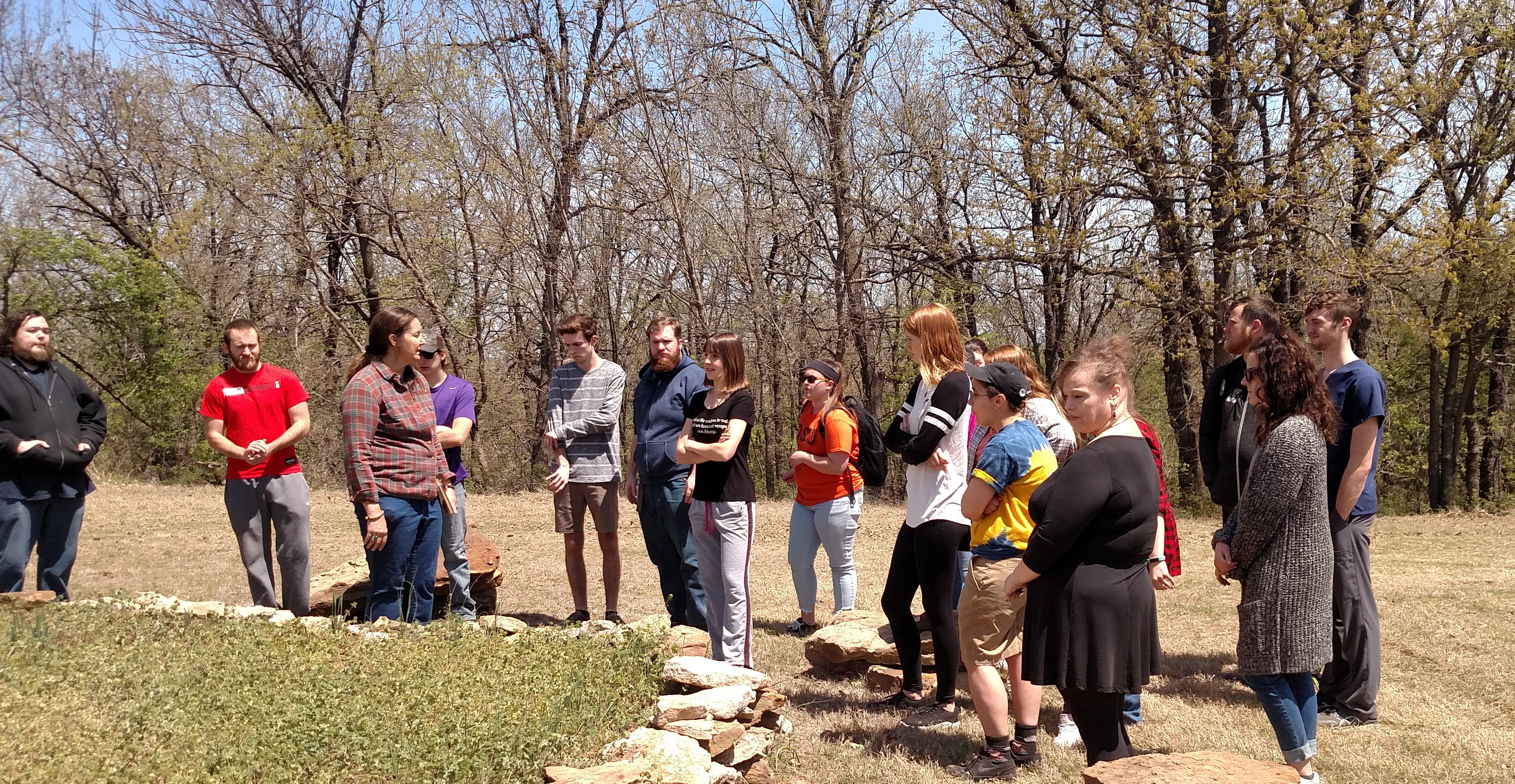 Picture of students in a botany class learning at the community garden
