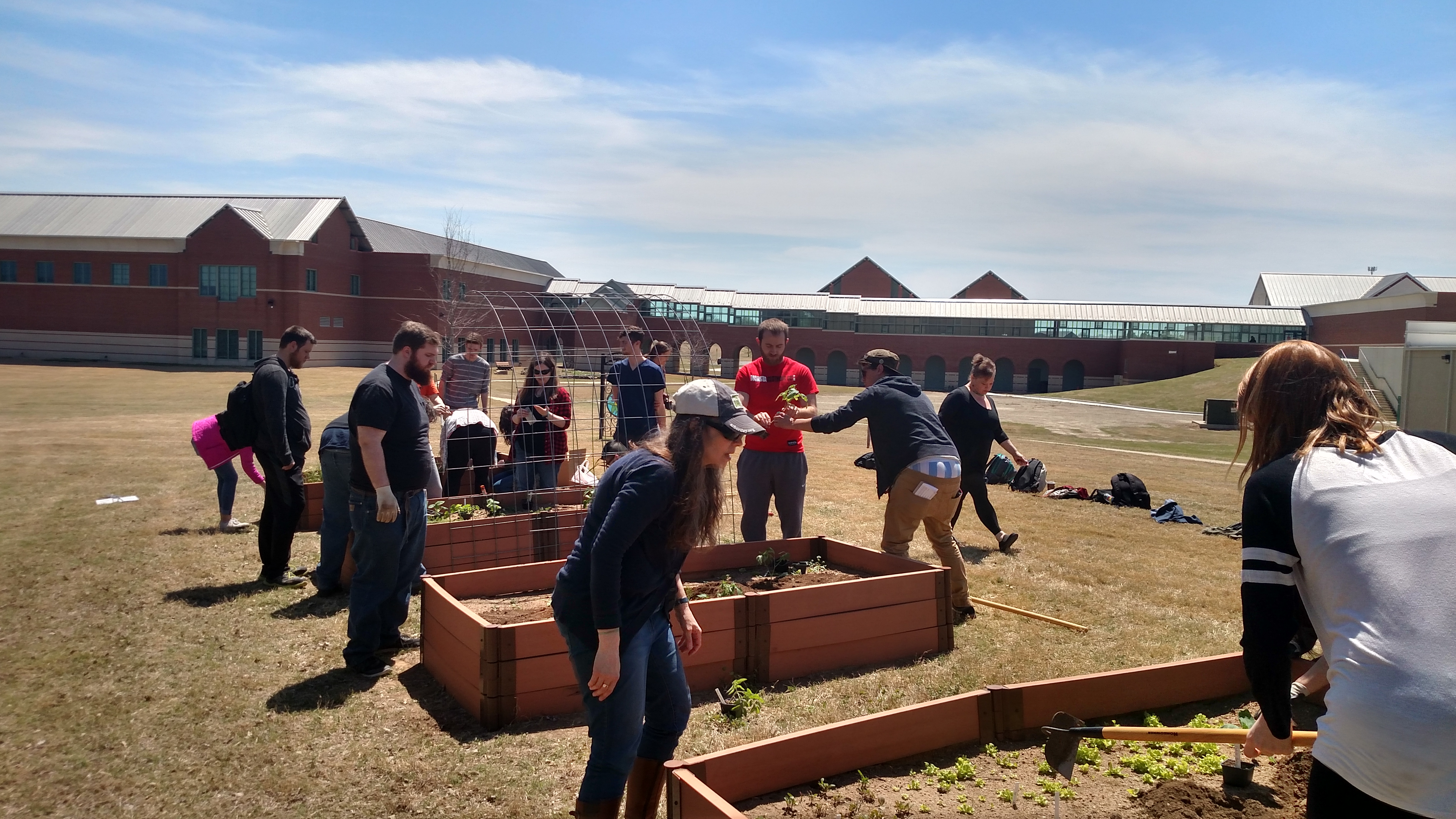 picture of students working on a community garden