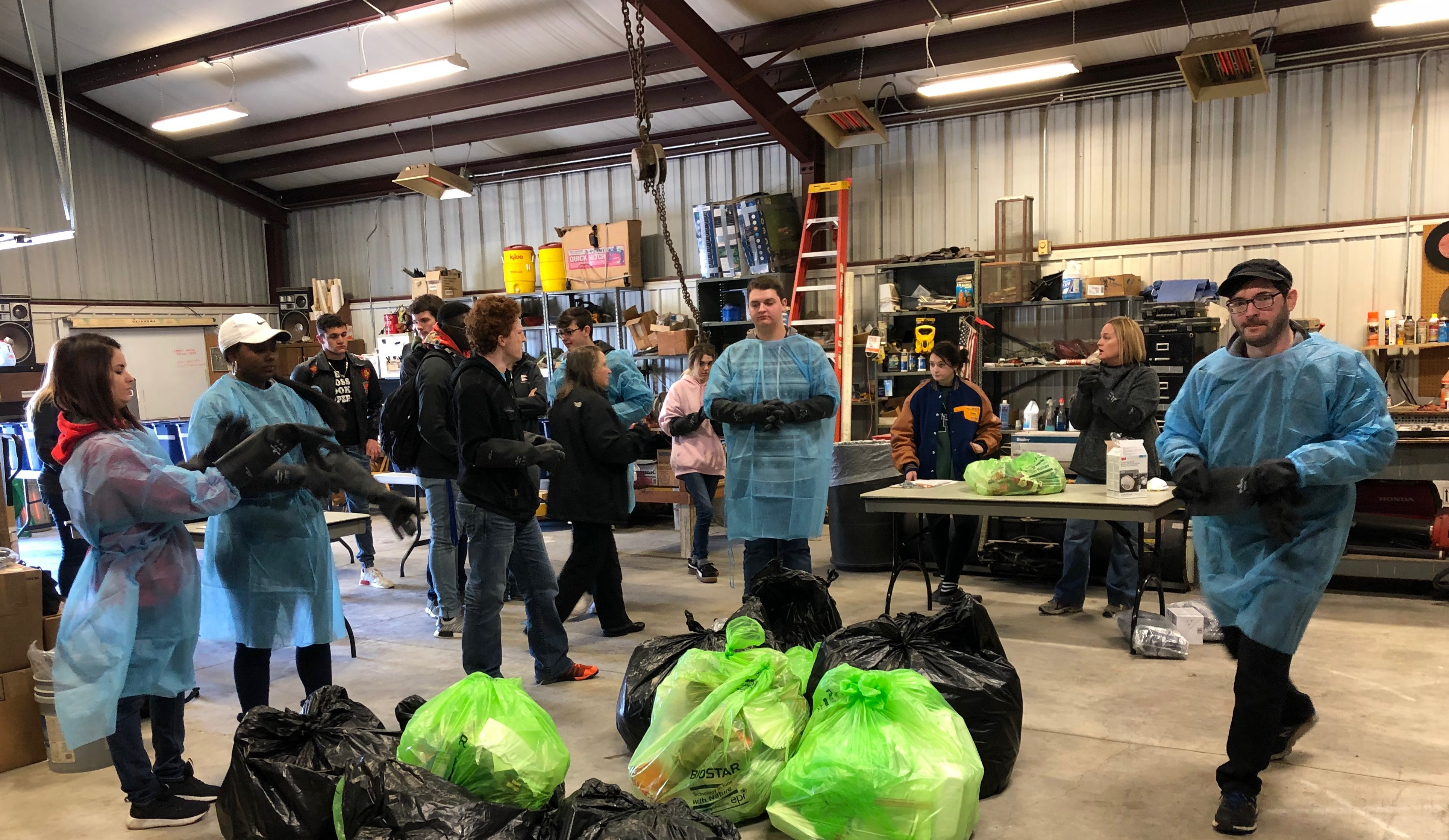 Picture of students helping with the waste audit at Southeast Campus