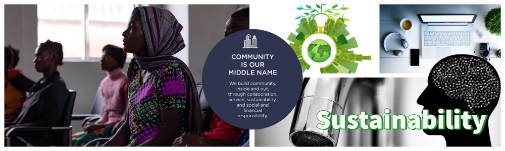 banner image showing images of black students in a classroom, a city growing from the earth, a work desk with computer, phone and coffee, a water faucet, a head with images inside. TCC's community pillar statement is in the center.