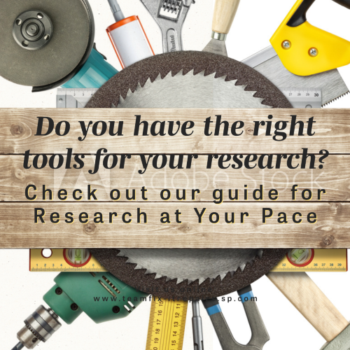A background of tools radiating from a circular saw blade. A wood board displays the text, research Tools.