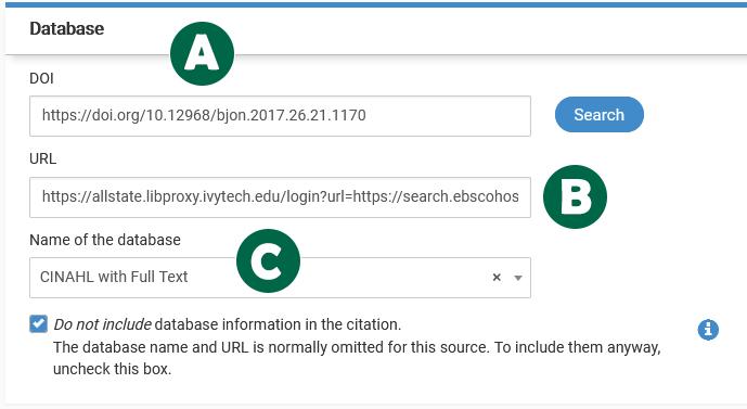 Screenshot: Database citation in NoodleTools