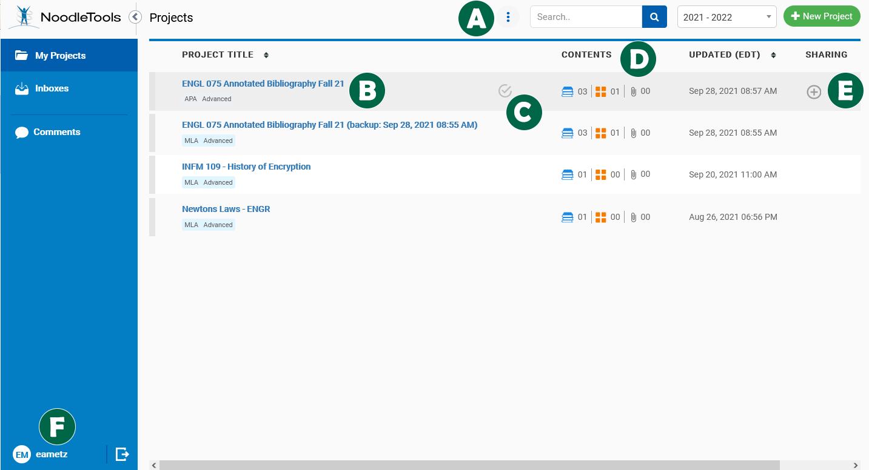 Screenshot: Project List in NoodleTools