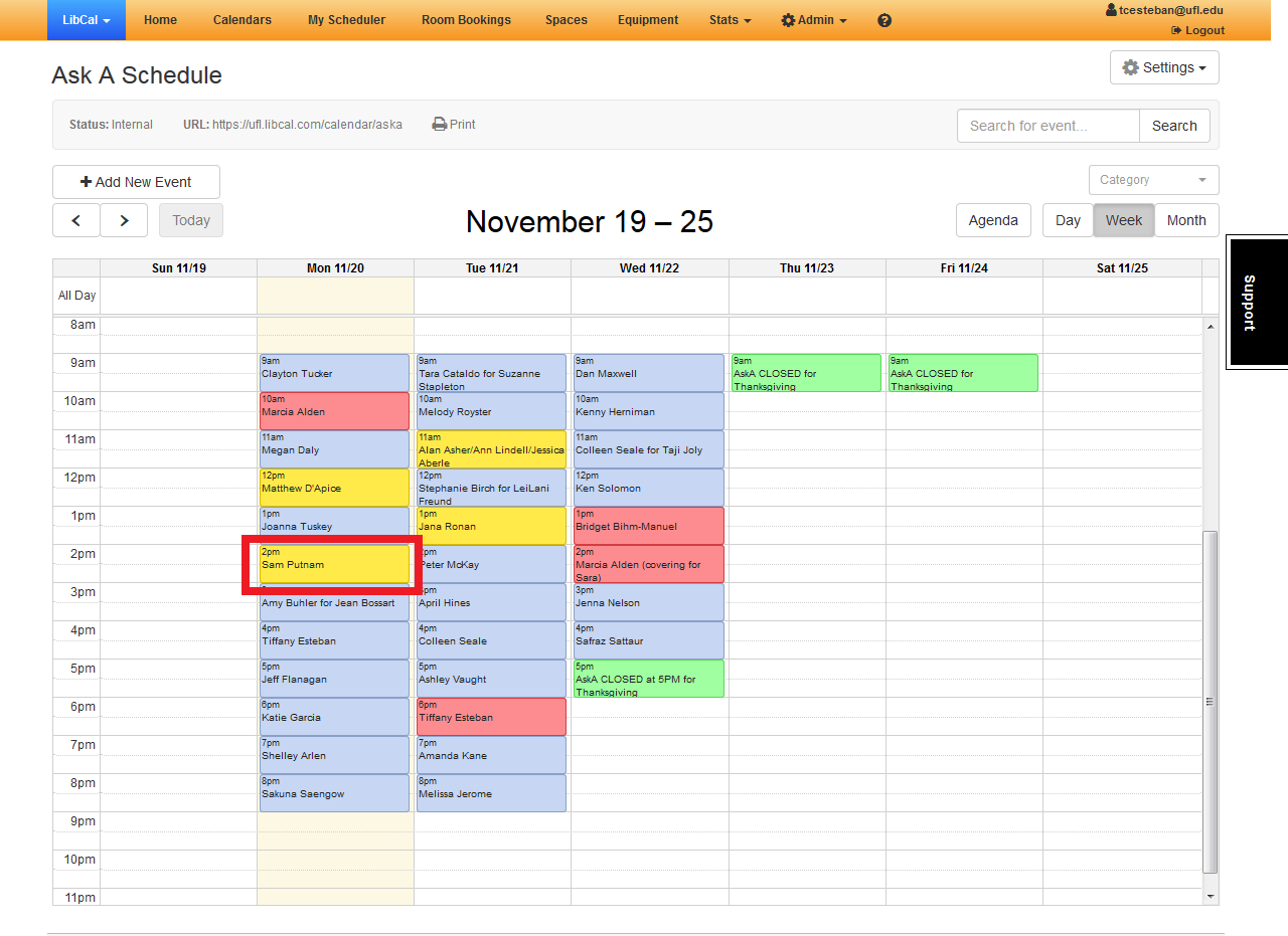 AskA Schedule with red box around one single event.