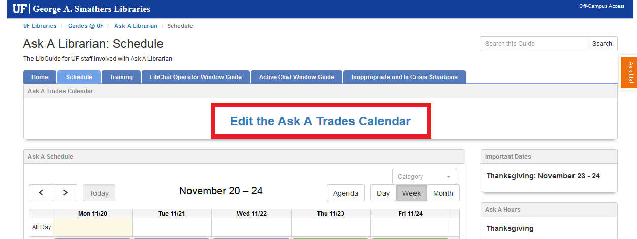 UF AskA LibGuide with red box around Edit the Ask A Trades Calendar.