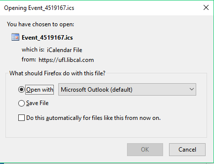 Popup for opening or saving an Event file to Outlook Desktop