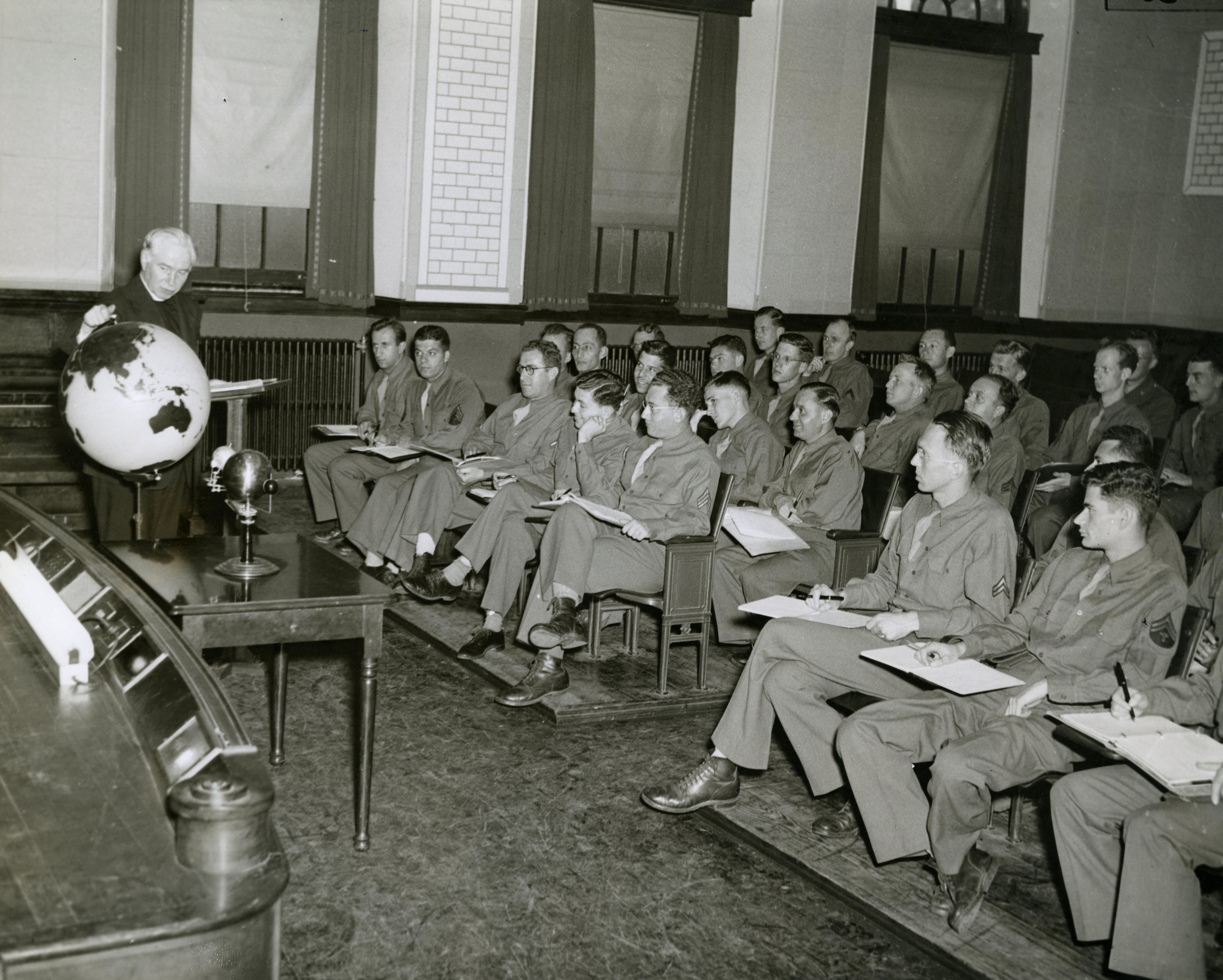Fr. Edmund Walsh teaches ASTP cadets, 1944