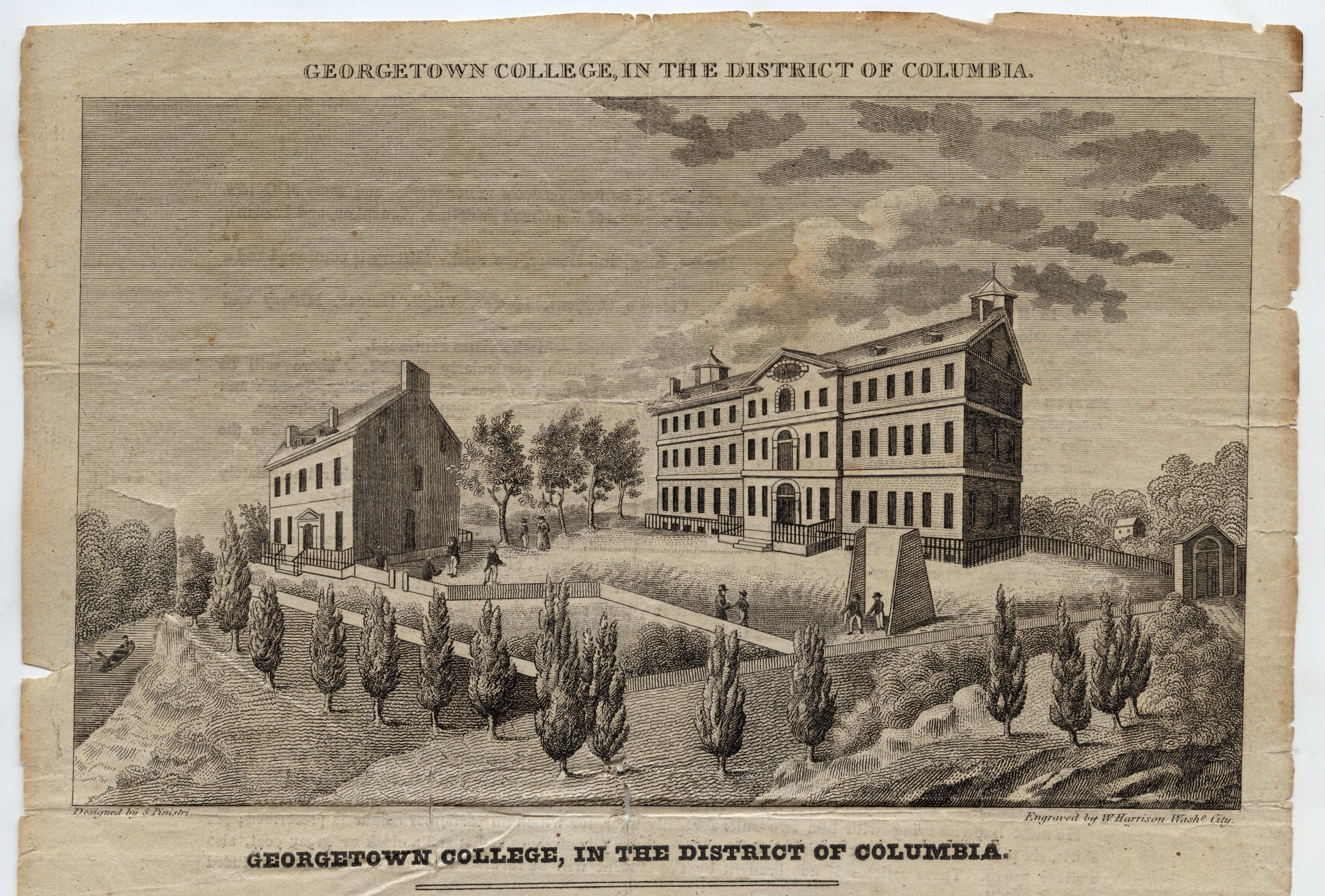 Engraving of Georgetown campus showing only two buildings