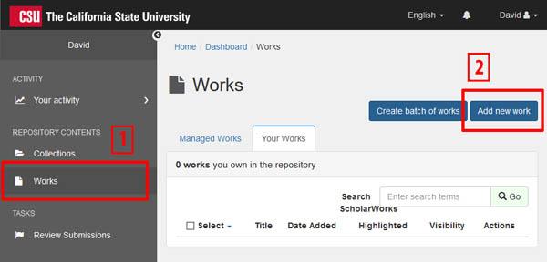ScholarWorks dashboard