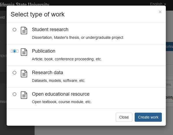 ScholarWorks work type screen