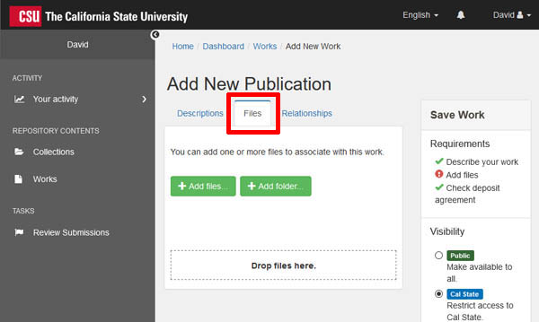 ScholarWorks add files screen