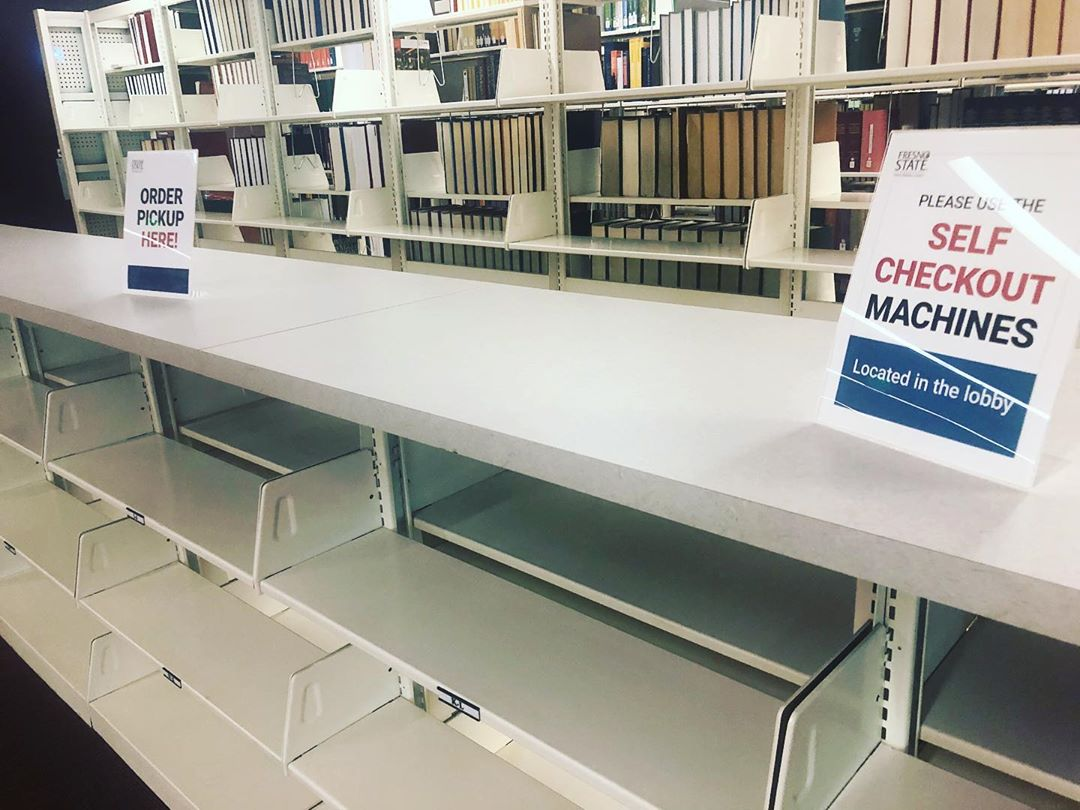 Order pickup shelves at the Madden Library