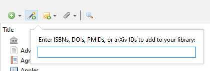 Zotero add by identifier example