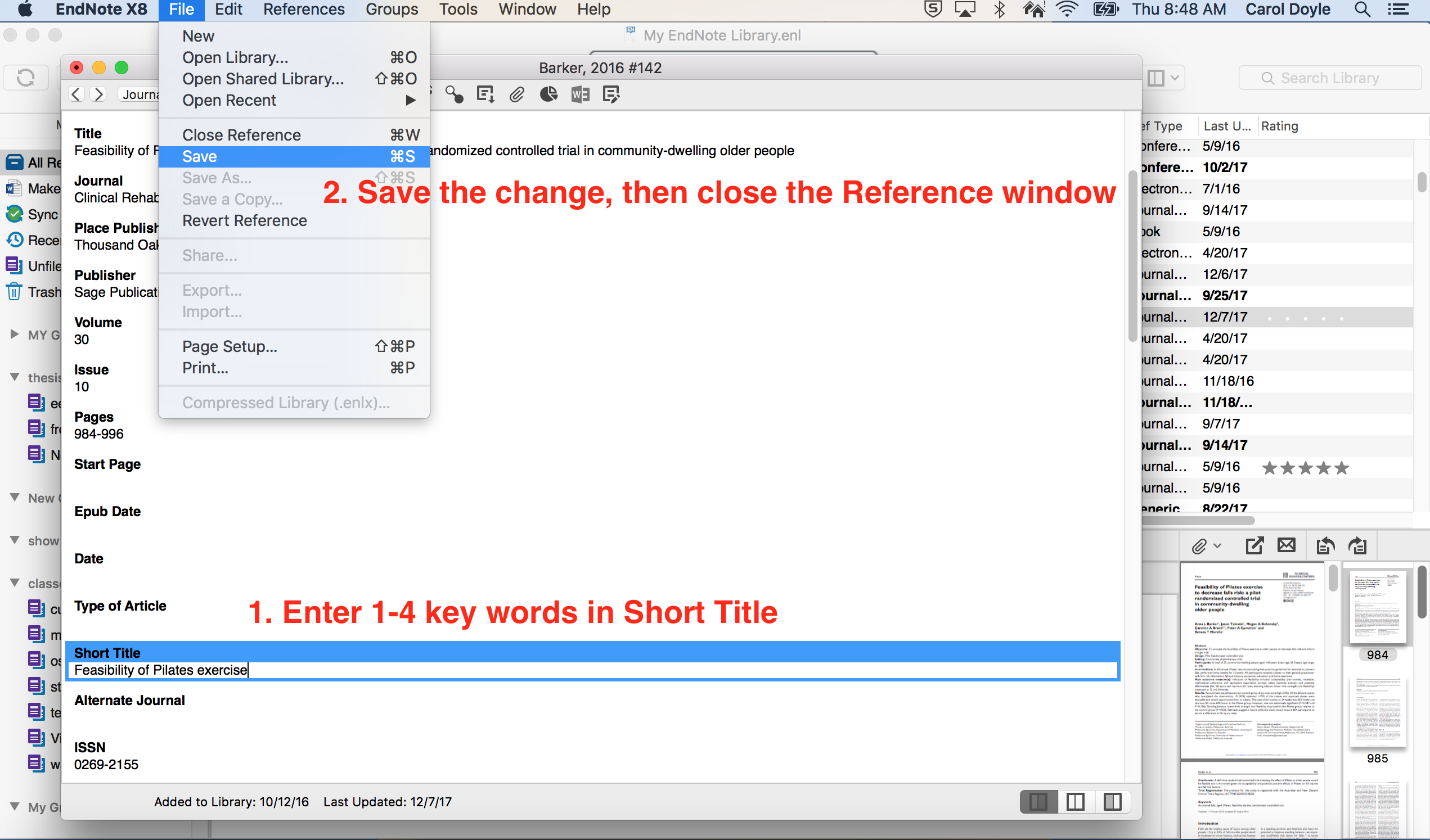 EndNote Add Short Title