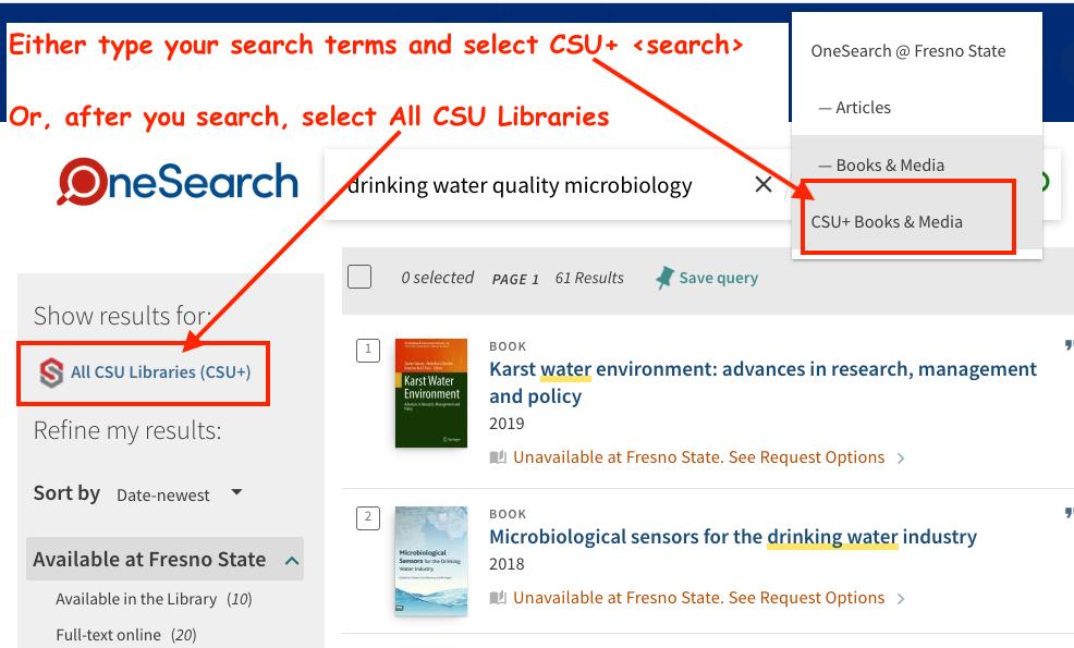 OneSearch select CSU+