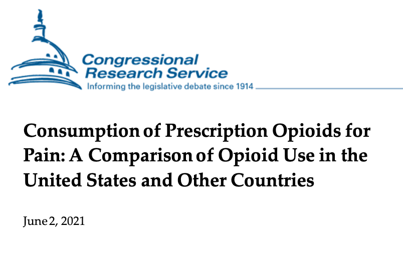 Perscription opiods for pain- CRS report