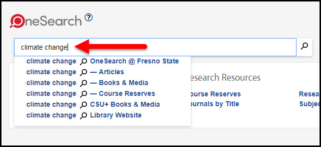 Onesearch search box