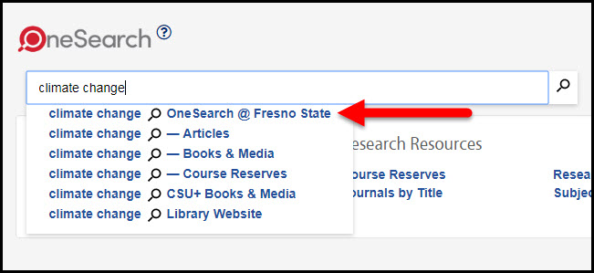 OneSearch @ Fresno State scope highlighted