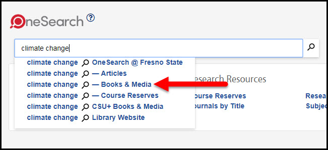 OneSearch books and media scope