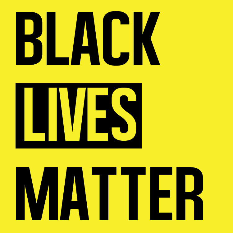 Black Lives Matter in black text on yellow