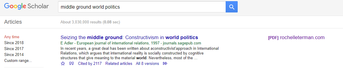 [Google Scholar search results, with the search tool and result which matches it]