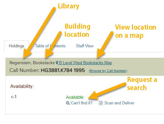 Library Catalog Holdings screenshot