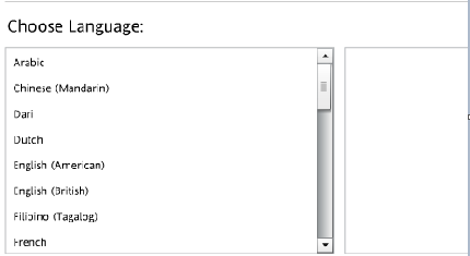 screenshot of the choice of languages on Rosetta Stone