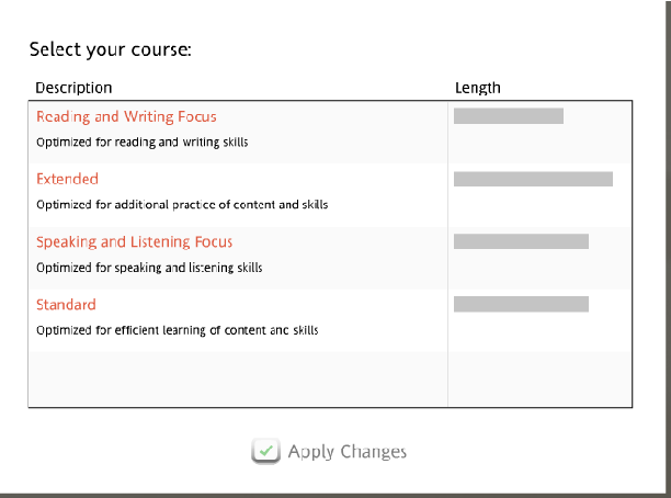 screenshot of the page to select your course - as written in the steps above