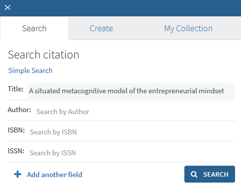 Screenshot of searching for citations in Leganto