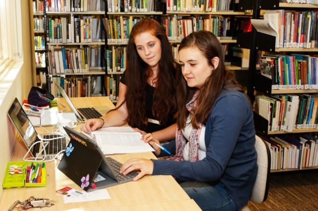 Students using computer and books