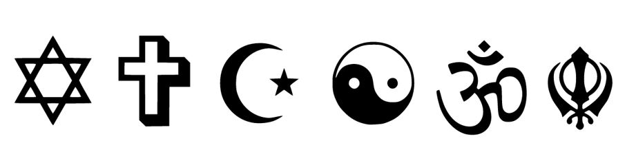 Religious symbols of Judaism, Christianity, Islam, Taoism, Hinduism and Sikhism