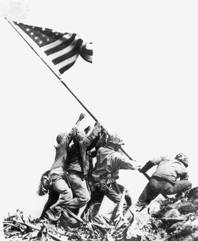U.S. Marines raise the American flag
